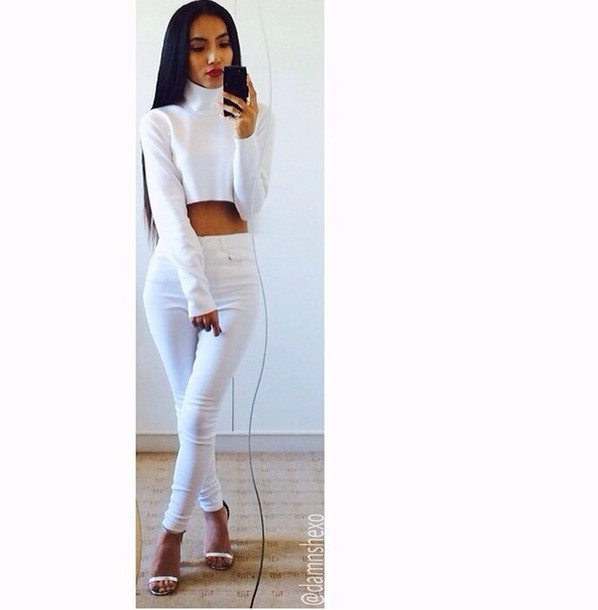 6291b31be266 shirt t-shirt white polo neck pants hat shoes jeans blouse long sleeves crop  tops