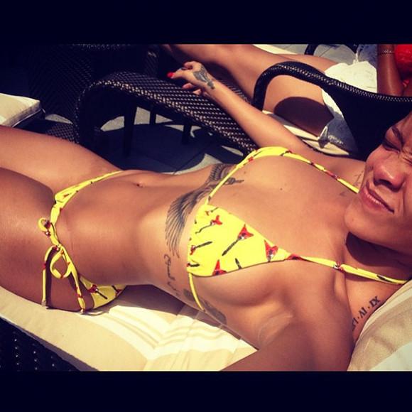 swimwear bikini yellow swimwear rihanna swimsuit rihanna style