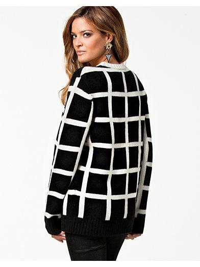 Check Sweater - American Retro - Sort / Hvid - Trøjer - Tøj - Kvinde - Nelly.com