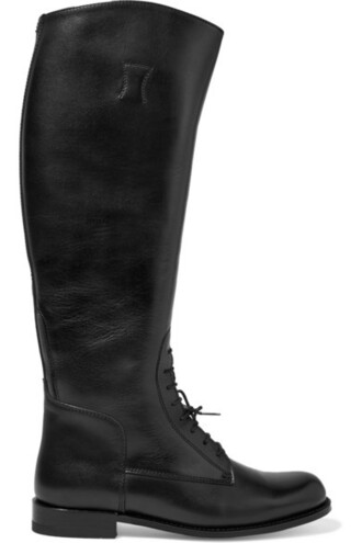 boots riding boots lace leather black shoes