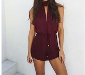 romper,marroon,romantic summer dress,red,summer,burgundy,short dress,turtleneck