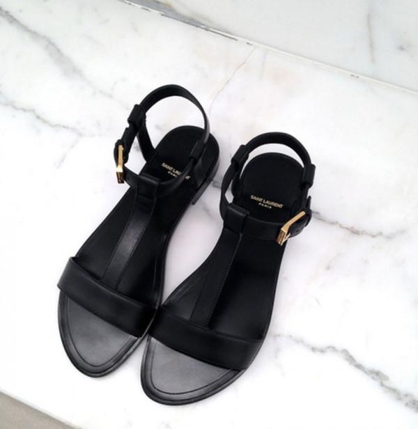 Saint Laurent Classic Nu Pieds Flat T Strap Sandal In