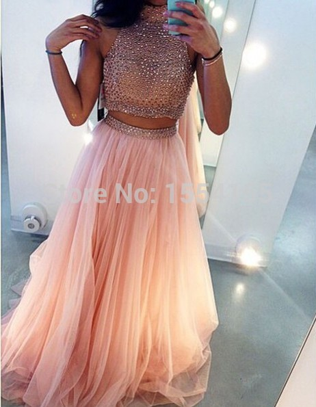 26c04671293 Aliexpress.com   Buy Stunning Two Piece Prom Dresses 2015 High Neck  Sleeveless Split Side Floor Length ...