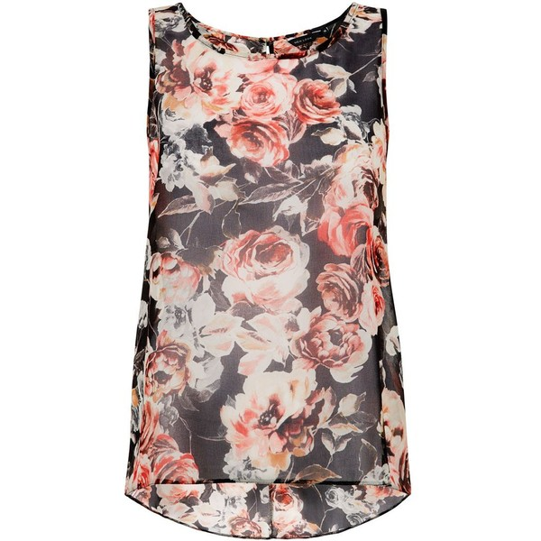 Black Floral Print Sleeveless Top - Polyvore