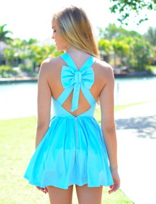 dress blue dress bow short dress bright summer dress cute dress blouse