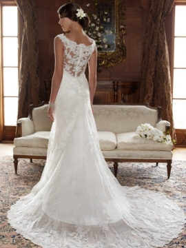 Beautiful Satin Beading Lace Open Back Wedding Dress