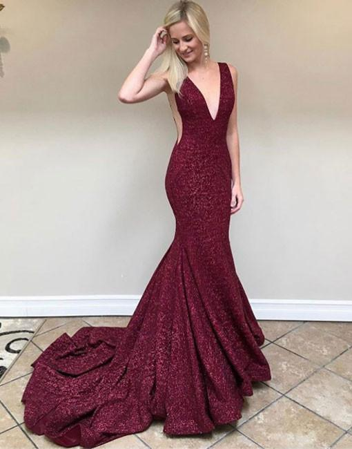 Burgundy mermaid sequins long prom dress, burgundy evening dresses - 24prom