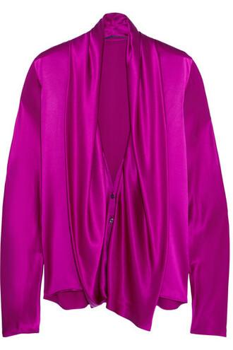shirt draped silk pink satin bright top