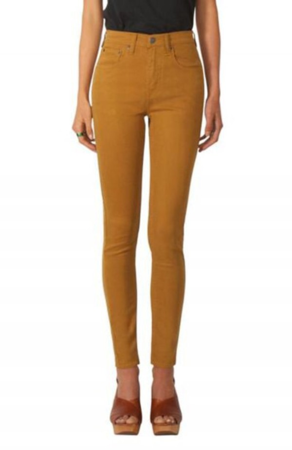 Jeans: mustard, high waisted jeans - Wheretoget