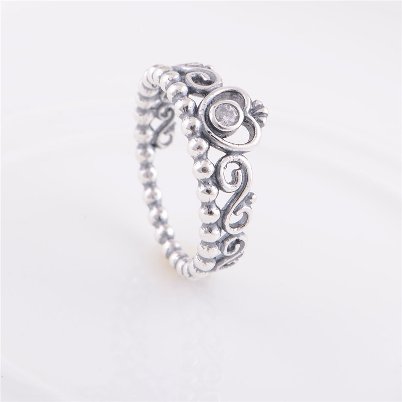 Fits pandora charms authentic 925 sterling silver princess crown ring design wedding rings for women