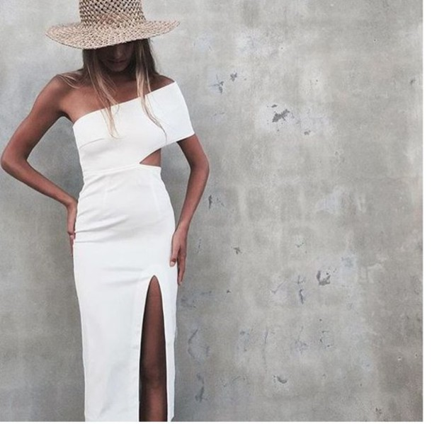 20ad5ff7ad94 dress white dress bodycon dress off the shoulder cut-out dress occassional  wedding slit dress