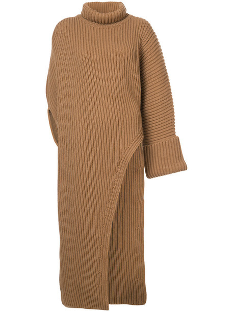Jil Sander dress oversized women wool brown