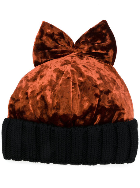 bow beanie velvet brown hat