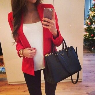 jacket blazer red blazer white top black jeans black skinny jeans leggings black leggings black bag prada bag