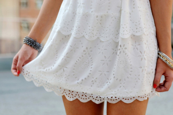 scalloped short dress clothes lace