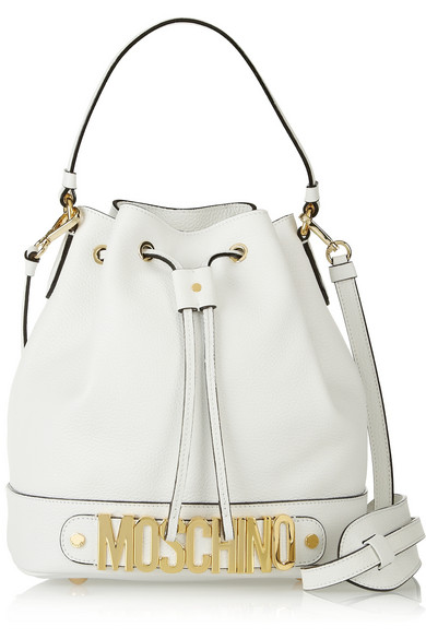 Moschino | Drawstring textured-leather bucket bag | NET-A-PORTER.COM