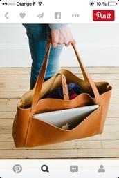 bag,leather,brown,cool,purse,tote bag,tan,simple bag,leather bag,handle