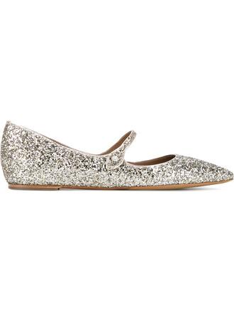 glitter women flats leather grey metallic shoes