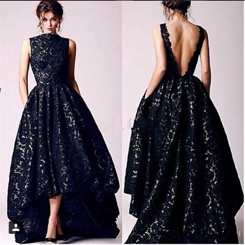Online Shop Arabic Hi Lo Black Lace Prom Dresses Vintage 2016 ...