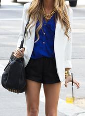 shorts,outfit,jacket,blouse,blue shirt