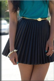 skirt,leather,pleated skirt,black,skater,fashion,trendy,2014,summer,elegance,beautiful,belt,blouse,pretty,belted,style,blue skirt,belted skirt
