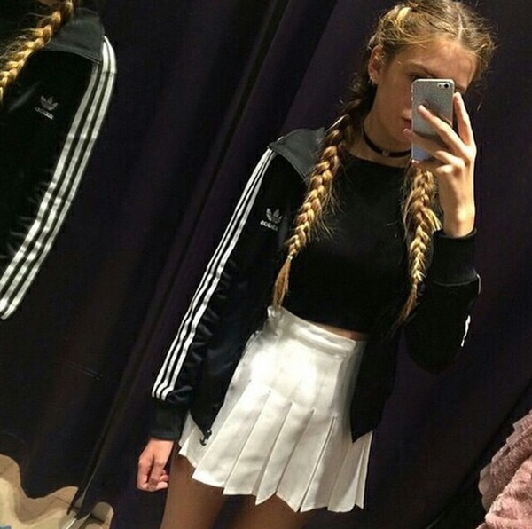jacket adidas tennis skirt american apparel choker necklace grunge jewelery pale on point clothing jewels sweater white shirt goth fabulous sportswear high waisted skirt skirt
