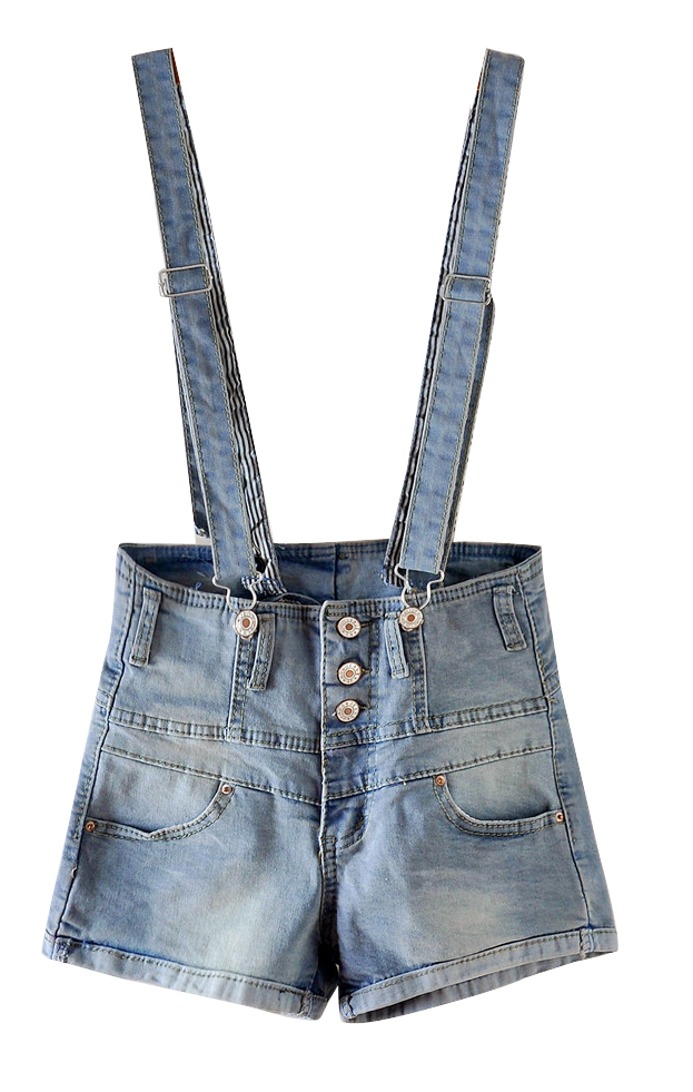 Light Blue High Waist Denim Short Acid Wash Dungarees - Sheinside.com