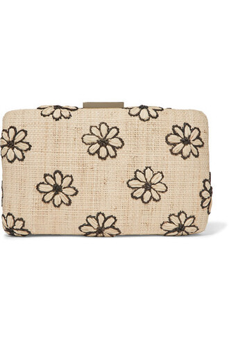 embroidered daisy clutch beige bag