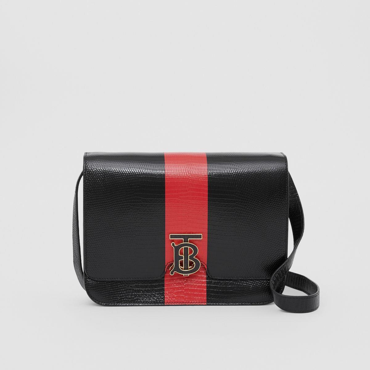 Medium Striped Embossed Leather TB Bag