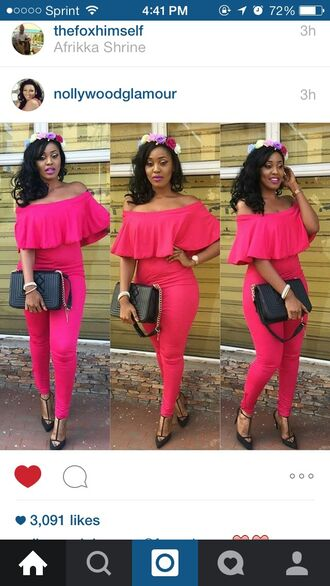 jumpsuit black fashion floral hot pink pink heels style girly off the shoulder bag purse shoes