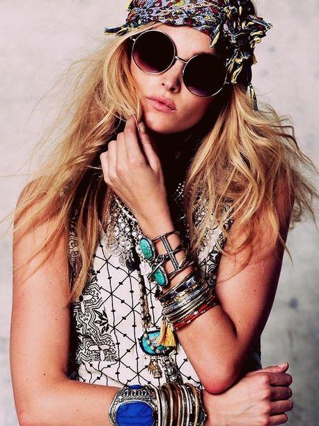 jewelry round sunglasses grunge hippie turban sunglasses