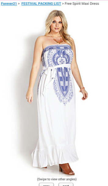 dress blue forever 21 maxi white
