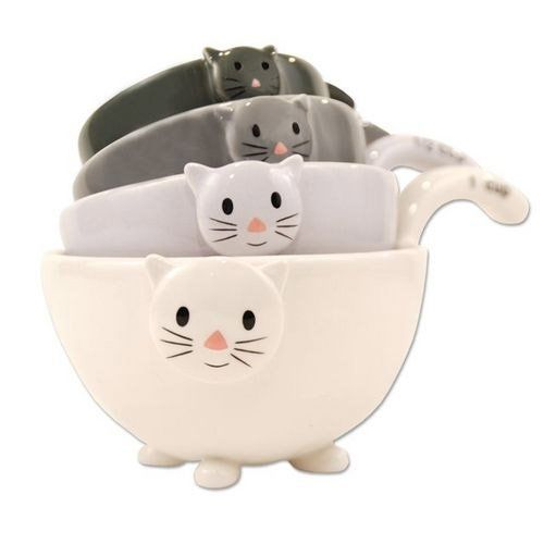 Cat Kitten Measuring Cups Bowls for Baking Black White Grey Ceramic New | eBay