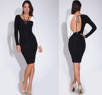 dress colorblock long sleeves tight bodycon open back cut-out clubwear party date outfit junior girls night