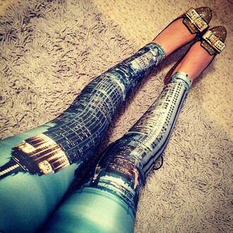 metallic pants city tower building leggings fashion women shoes new york city black milk
