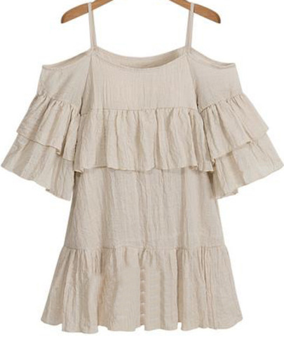 Apricot Spaghetti Strap Off the Shoulder Ruffle Dress - Sheinside.com