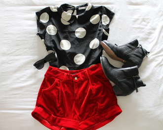 shirt polka dots blouse black white polka dots silk top modern retro shoes colorblock fold over bottom shorts red shorts black booties ankle boots shapes circles creme high waisted shorts boots