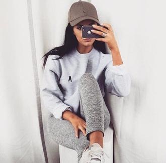 top grey girl brunette grey sweater oversized sweater