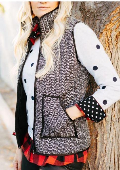 Gray Stand Collar Pocket Zip Padded Waistcoat