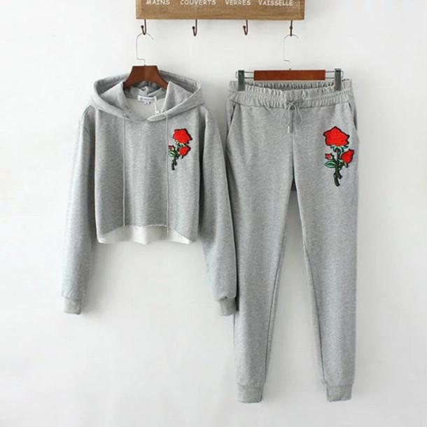 sweater roses floral pants two-piece embroidered sportswear cool trendy fashion style gym lounge wear sweatpants grey beautifulhalo