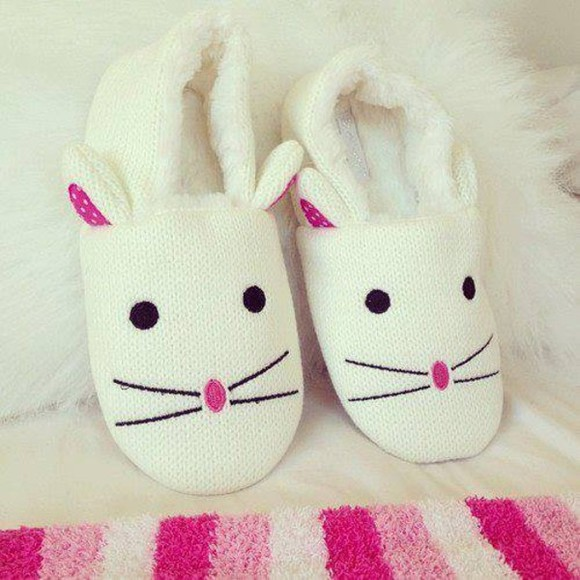 stripes black white stripe shoes slipper slippers bunny pink animal animal slippers animal shoes polka dot whiskers whisker eyes nose button nose pale pink dark pink cream fluff fluffy fluffy bunny cute bunny cute white shoes cute shoes polka dots cute dress