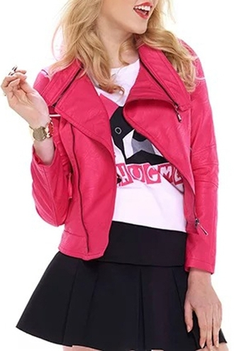 jacket pink pink jacket hot pink assymetrical zipper leather jacket faux leather high school high school style streetstyle preppy girly outfit style zaful fluo casual urban pale grunge blonde hair teenagers girl