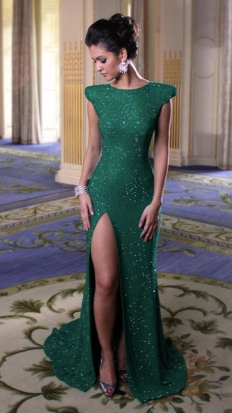 dress green dress sparkly dress prom dress slit dress