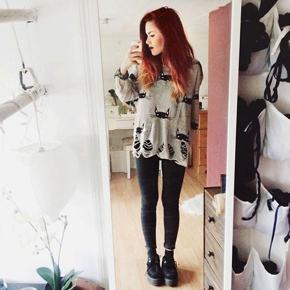 holes fall outfits luana perez lehappy luana perez instagram blogger girl cats long sleeves