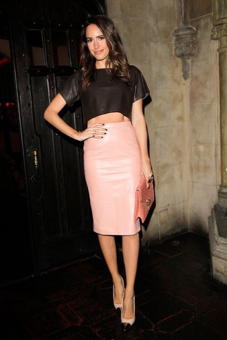skirt pink leather midi skirt