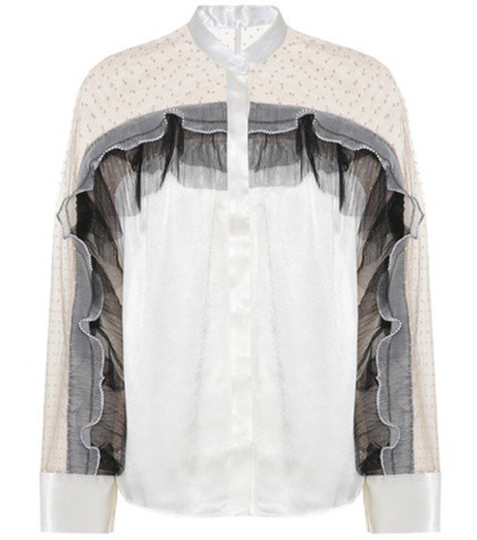 self-portrait shirt pleated white top