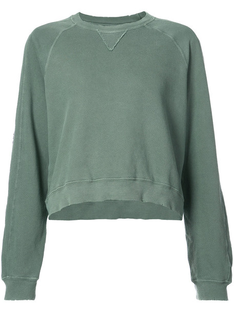 The Great - The Cropped sweatshirt - women - Cotton - 2, Green, Cotton