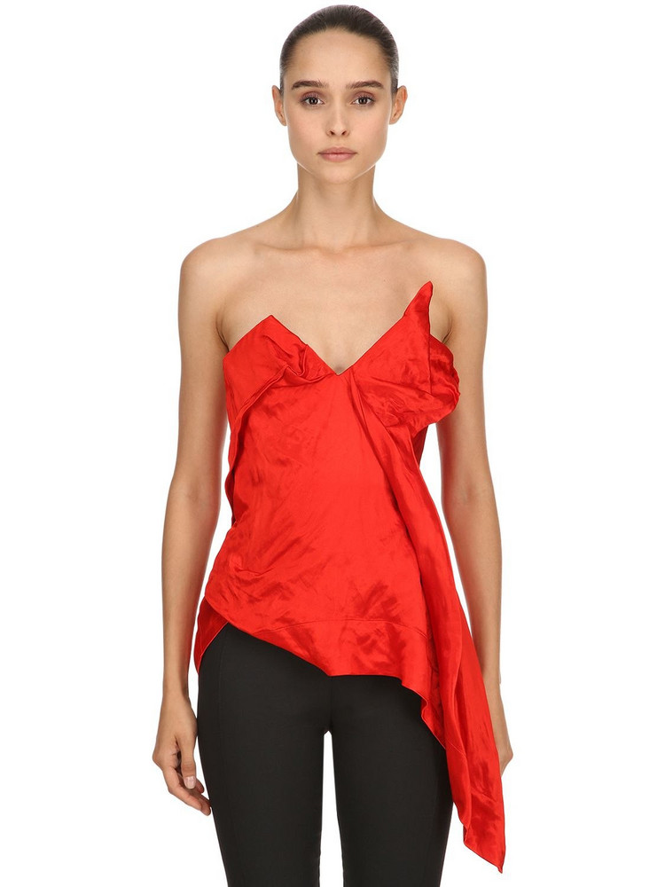 VIVIENNE WESTWOOD Asymmetric Viscose Satin Corset Top in red
