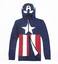 Online shop hot long sleeve zipper men captain america masked hoodie cosplay sweatshirt jacket