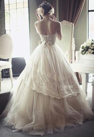 dress lace-up wedding dress tulle skirt vintage corset dress embroidery wedding dresses lace dress